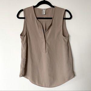 H&M Size 8 Beige Silky Sleeveless Blouse